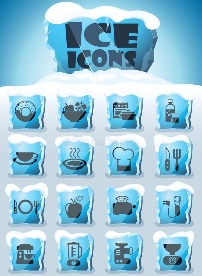 Insieme dell'icona della cucina e dell'alimento royalty illustrazione gratis