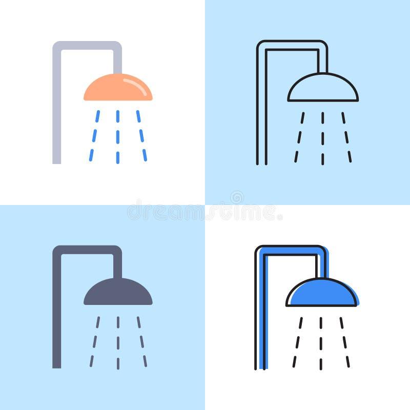 Insieme dell'icona della doccia in piano e nella linea stile royalty illustrazione gratis