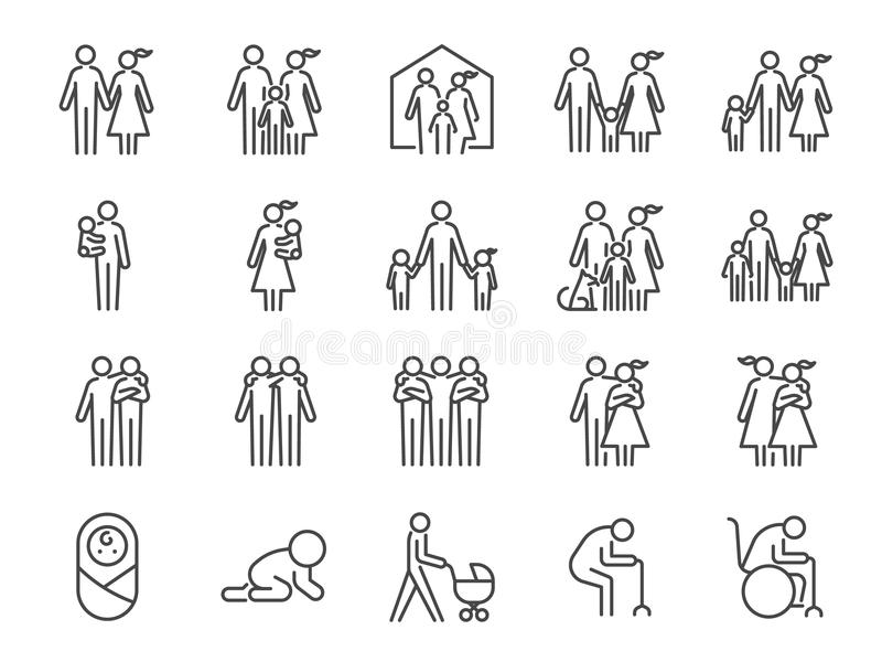 Insieme dell'icona della famiglia Icone incluse come la gente, i genitori, la casa, il bambino, i bambini, l'animale domestico e  illustrazione di stock