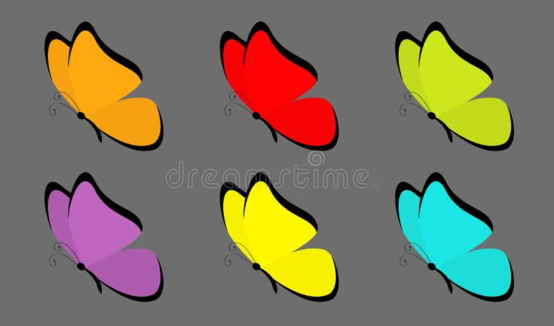 Insieme dell'icona della farfalla Carattere divertente di kawaii sveglio del fumetto Ali viola arancio verdi gialle rosse blu var illustrazione di stock