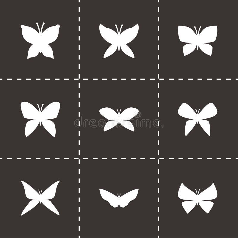 Insieme dell'icona della farfalla di vettore illustrazione di stock