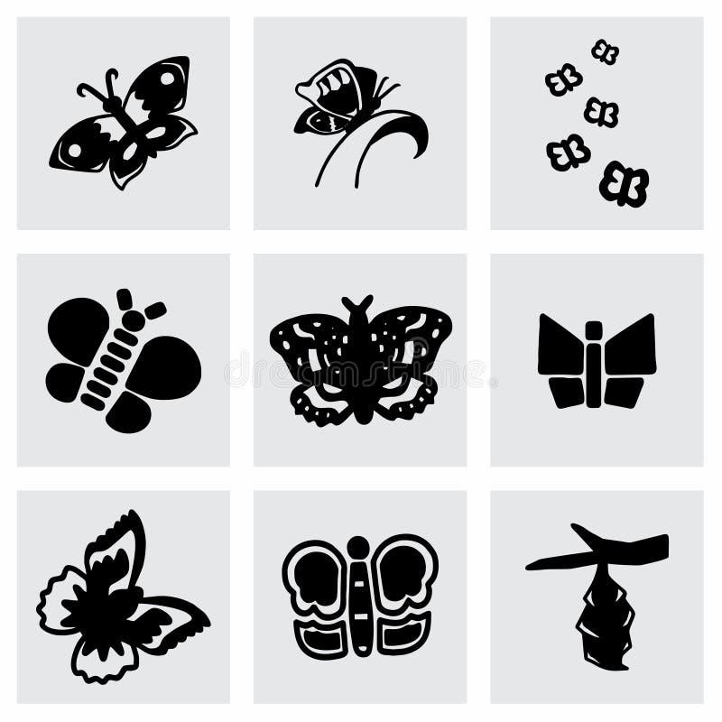 Insieme dell'icona della farfalla di vettore royalty illustrazione gratis
