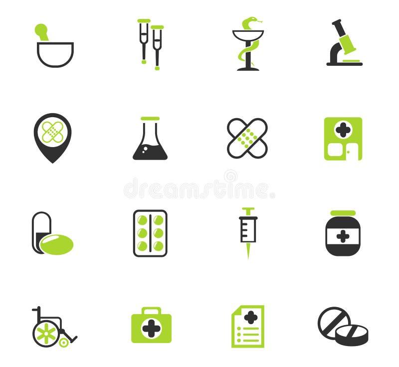 Insieme dell'icona della farmacia illustrazione di stock