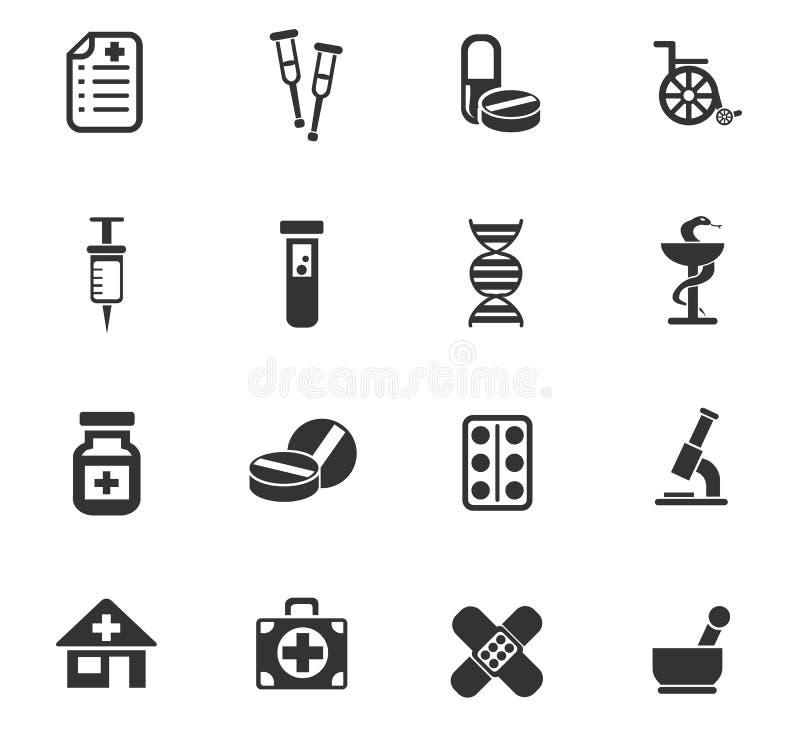 Insieme dell'icona della farmacia illustrazione vettoriale