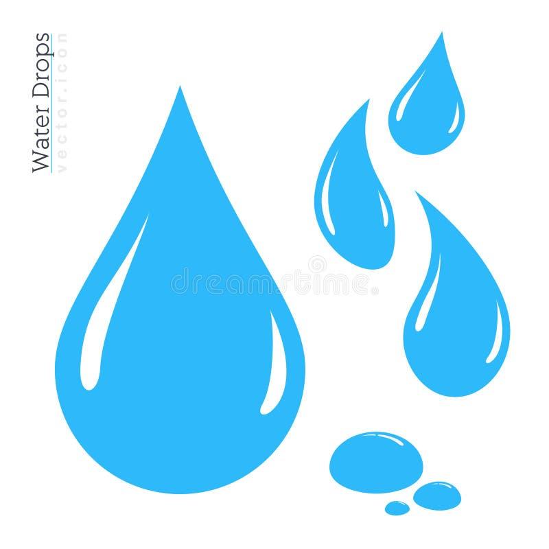 Insieme dell'icona della goccia di acqua Siluetta della goccia di pioggia di vettore illustrazione vettoriale