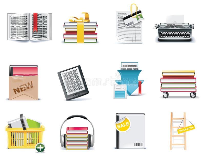 Insieme dell'icona della libreria di vettore e della memoria di libro illustrazione di stock