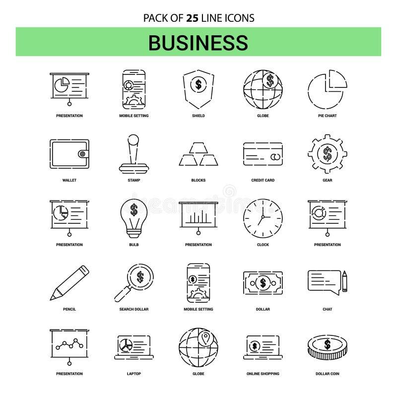 Insieme dell'icona della linea di business - stile tratteggiato del profilo 25 royalty illustrazione gratis