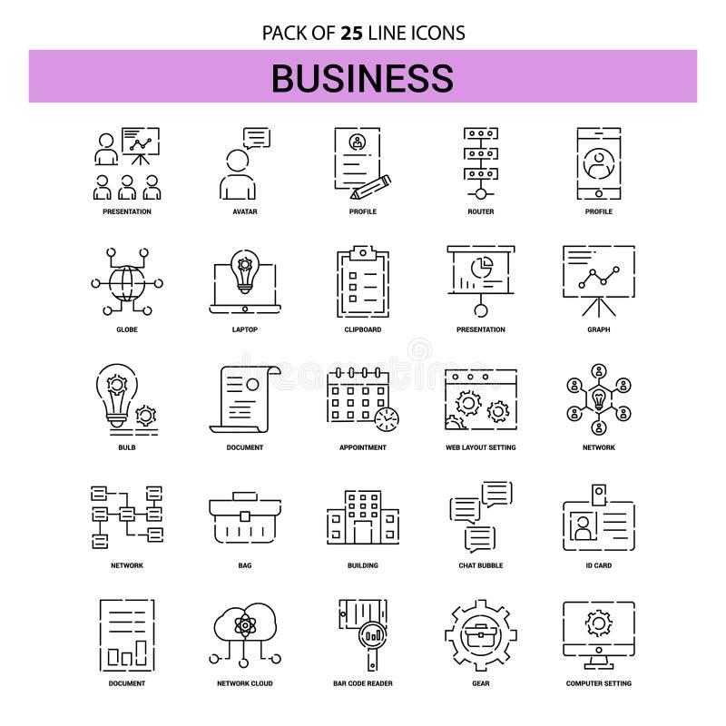 Insieme dell'icona della linea di business - stile tratteggiato del profilo 25 illustrazione vettoriale