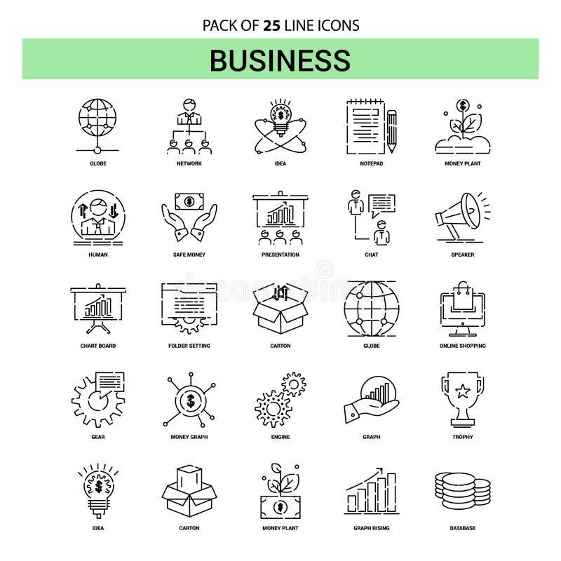 Insieme dell'icona della linea di business - stile tratteggiato del profilo 25 illustrazione di stock
