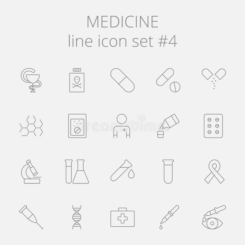 Insieme dell'icona della medicina illustrazione vettoriale