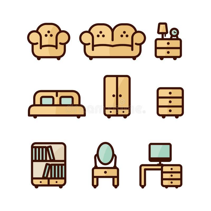 Insieme dell'icona della mobilia royalty illustrazione gratis