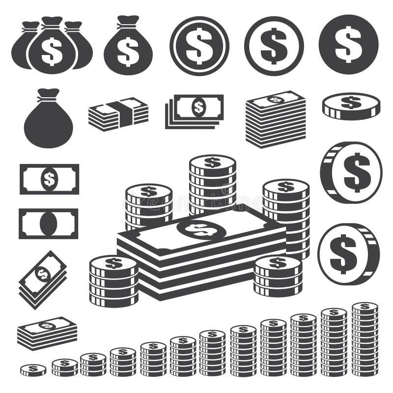 Insieme dell'icona della moneta e dei soldi. illustrazione vettoriale