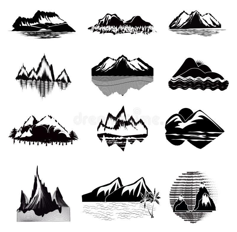 Insieme dell'icona della montagna royalty illustrazione gratis