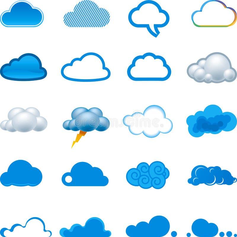 Insieme dell'icona della nube illustrazione di stock