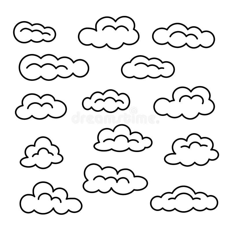 Insieme dell'icona della nuvola Linea segni di vettore Cielo Cloudscape Oggetti isolati illustrazione di stock