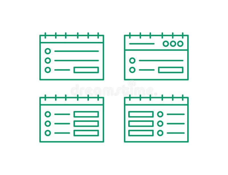 Insieme dell'icona della pagina Web Pubblichi la linea logo Illustation di vettore della nota illustrazione vettoriale