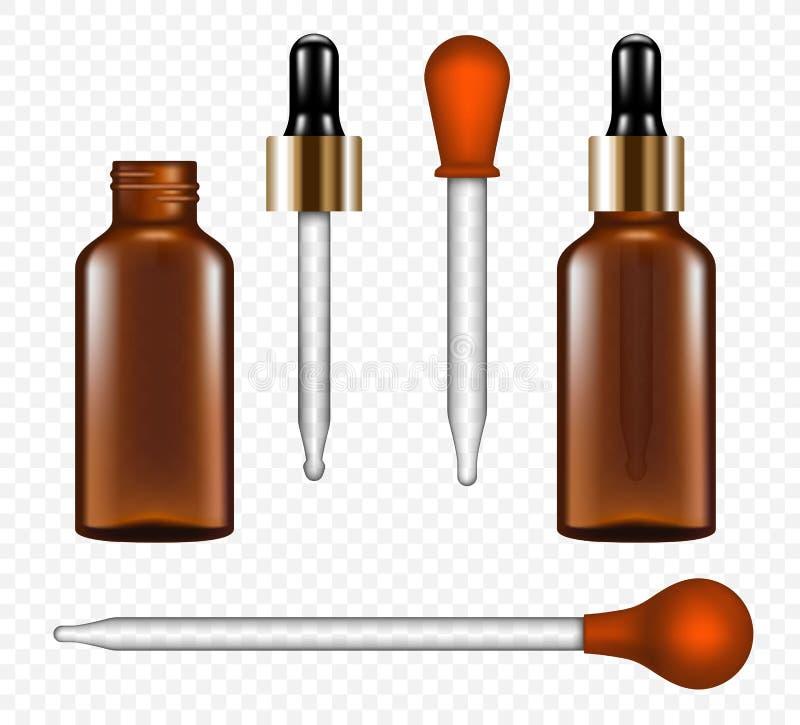 Insieme dell'icona della pipetta, stile realistico illustrazione di stock