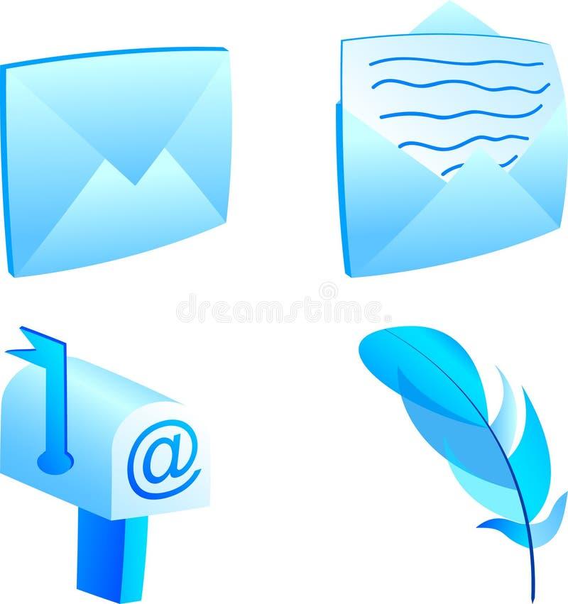 Insieme dell'icona della posta. royalty illustrazione gratis