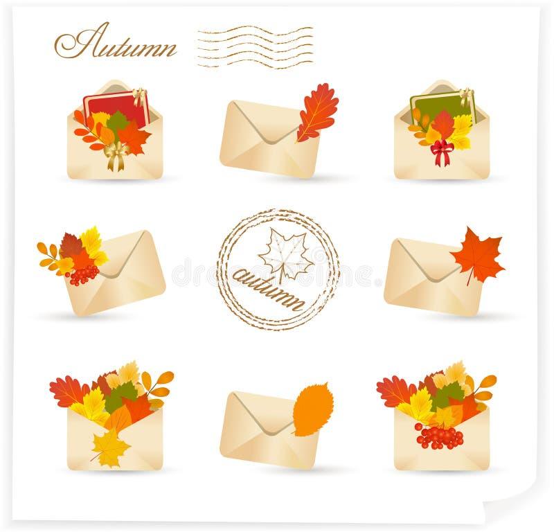 Insieme dell'icona della posta di autunno illustrazione vettoriale