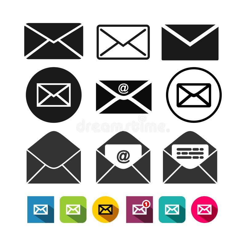 Insieme dell'icona della posta, icona della lettera Illustrazione di vettore Isolato su priorità bassa bianca royalty illustrazione gratis