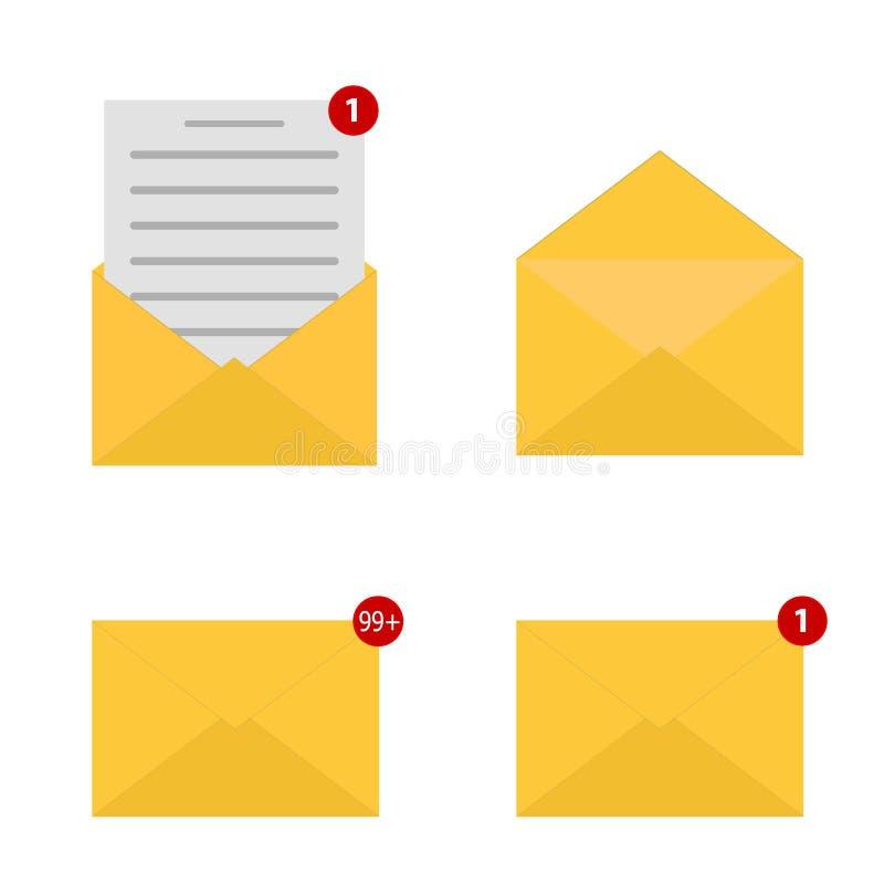 Insieme dell'icona della posta Segno della busta Un messaggio ricevuto Nuova notifica e-mail Messaggio aperto e colto Illustrazio royalty illustrazione gratis