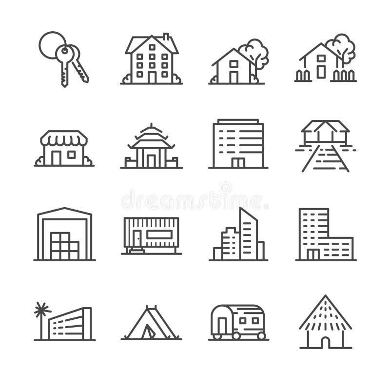 Insieme dell'icona della proprietà illustrazione di stock