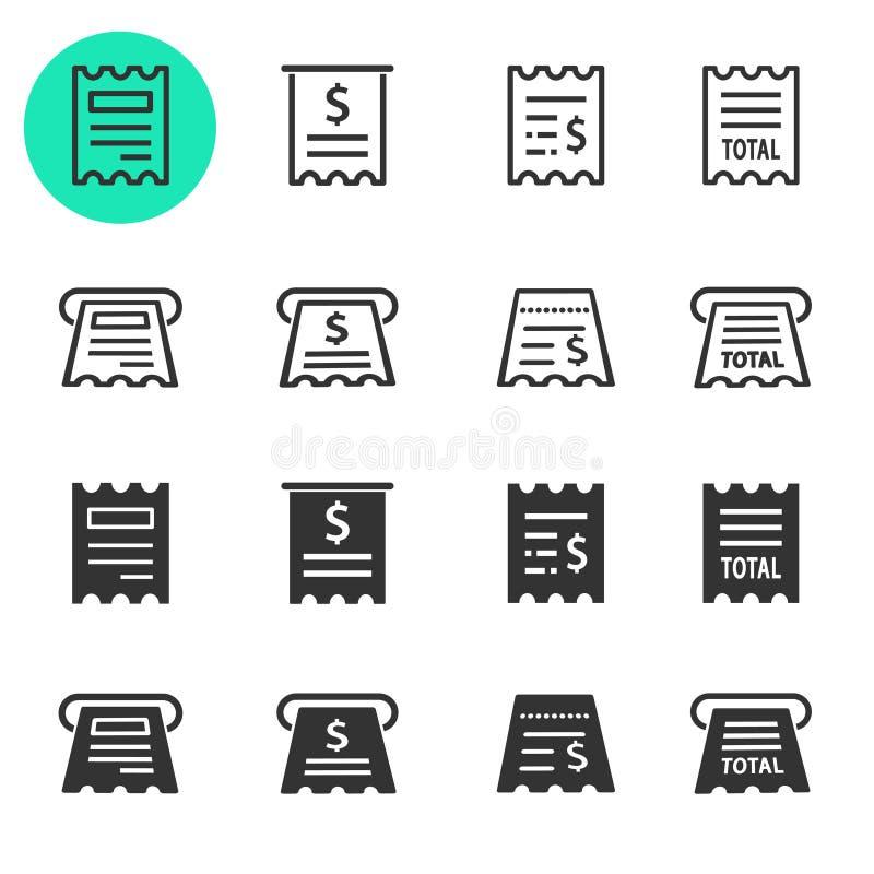 Insieme dell'icona della ricevuta Illustrazioni isolate su bianco royalty illustrazione gratis