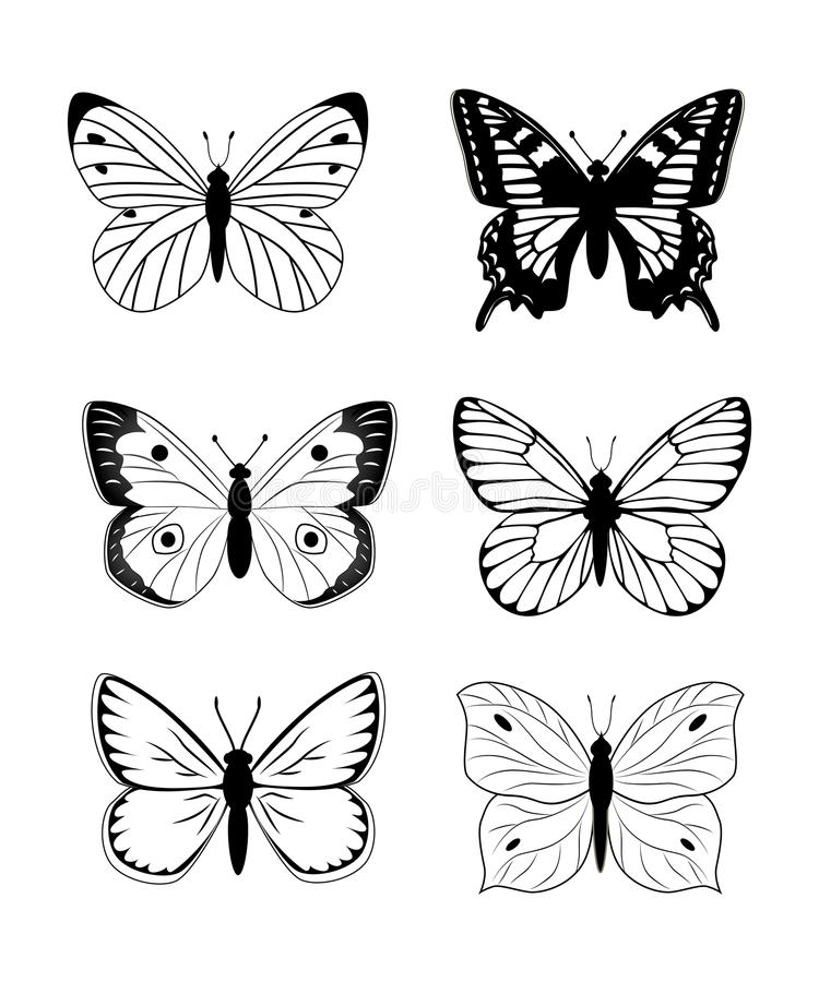 Insieme dell'icona della siluetta della farfalla Insieme semplice del vettore della farfalla illustrazione di stock
