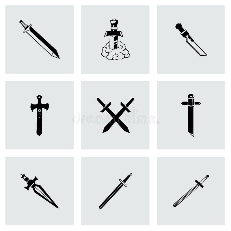 Insieme dell'icona della spada di vettore illustrazione vettoriale