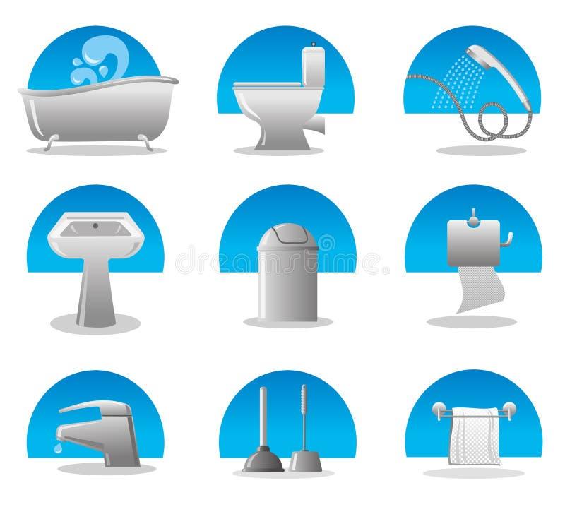 Insieme dell'icona della toletta e della stanza da bagno illustrazione vettoriale