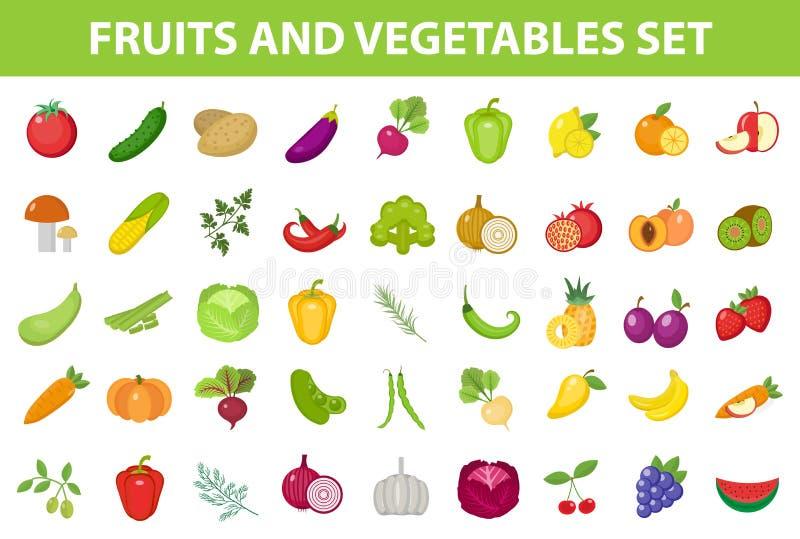 Insieme dell'icona della verdura e della frutta fresca, piano, stile fumetto Bacche ed erbe su fondo bianco Prodotti di fattoria immagine stock