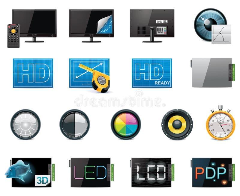 Insieme dell'icona delle caratteristiche e di specifiche di vettore TV illustrazione vettoriale