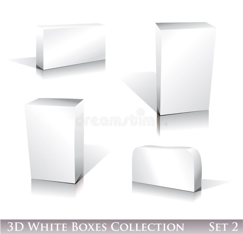 Insieme dell'icona delle caselle bianche illustrazione vettoriale