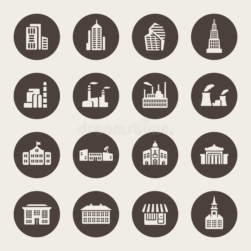 Insieme dell'icona delle costruzioni illustrazione di stock