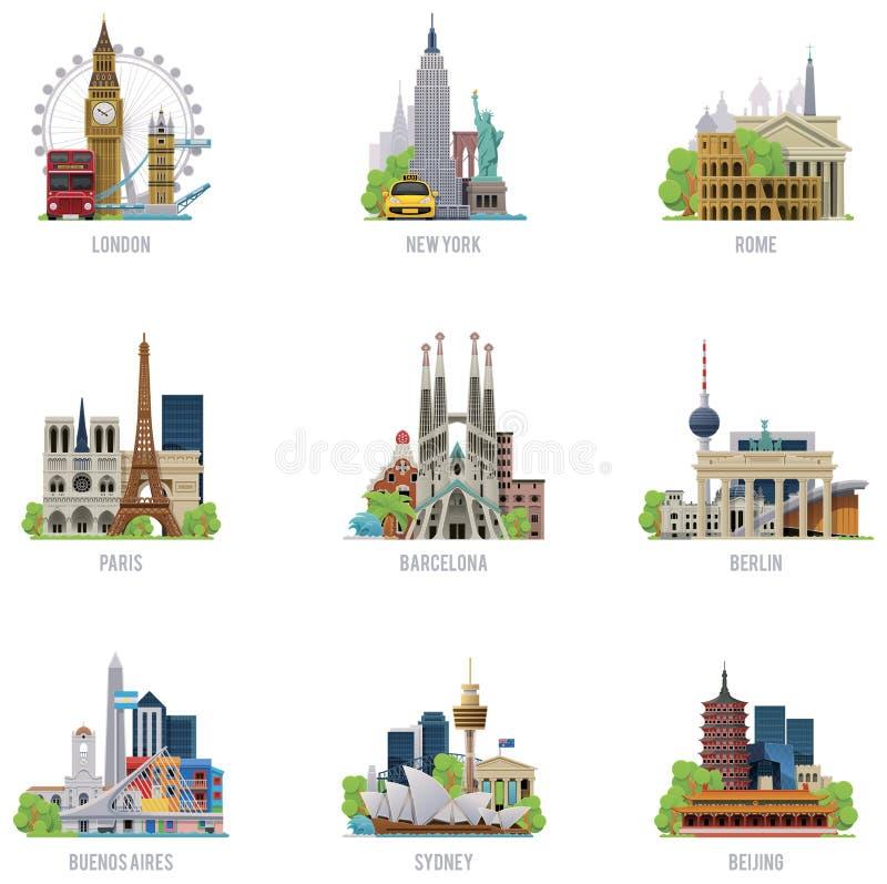 Insieme dell'icona delle destinazioni di viaggio di vettore illustrazione vettoriale