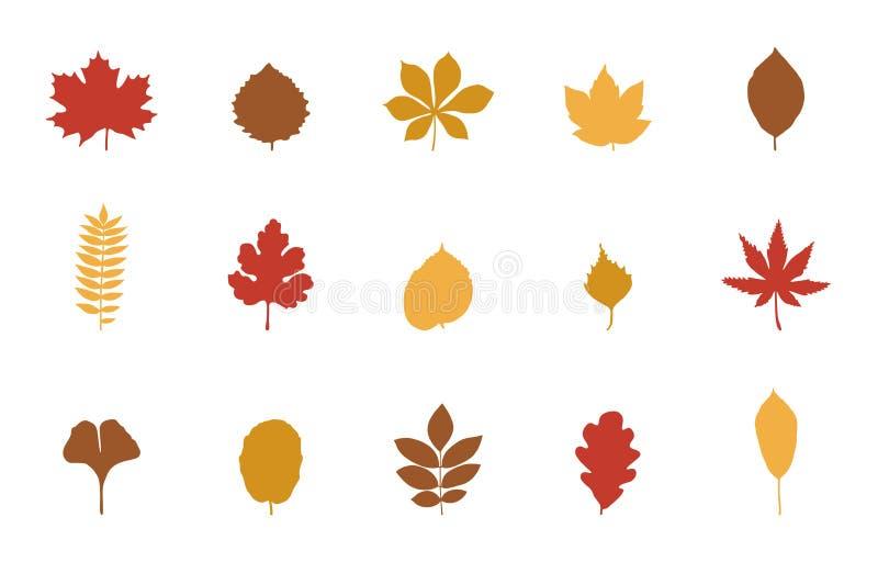 Insieme dell'icona delle foglie di autunno royalty illustrazione gratis