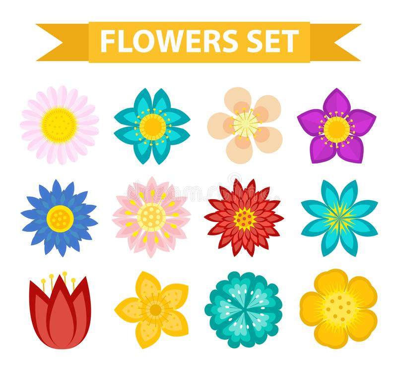 Insieme dell'icona delle foglie e dei fiori, stile piano Raccolta floreale isolata su fondo bianco Primavera, elementi di progett illustrazione di stock