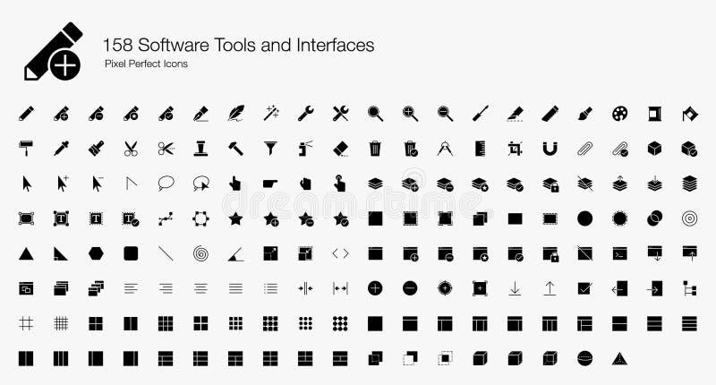Insieme dell'icona delle icone di web dei software tool e di progettazioni di UI illustrazione di stock