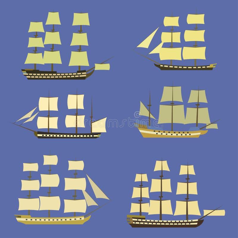 Insieme dell'icona delle navi di navigazione royalty illustrazione gratis