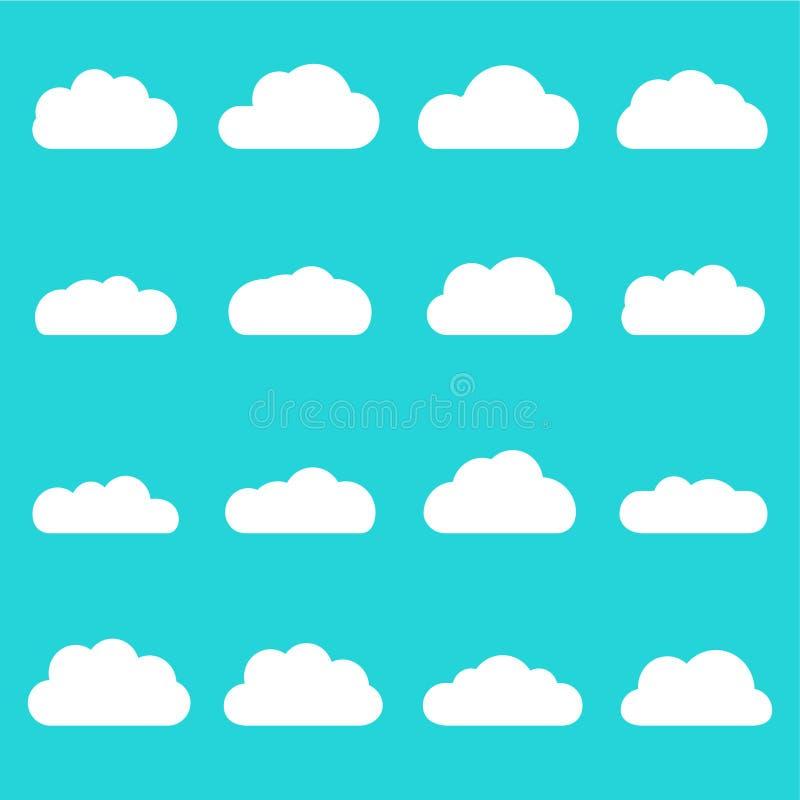 Insieme dell'icona delle nuvole Forme differenti della nuvola isolate sui precedenti del cielo blu Nuvola piana del fumetto di st illustrazione di stock