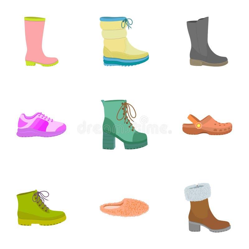 Insieme dell'icona delle scarpe di signora, stile piano royalty illustrazione gratis