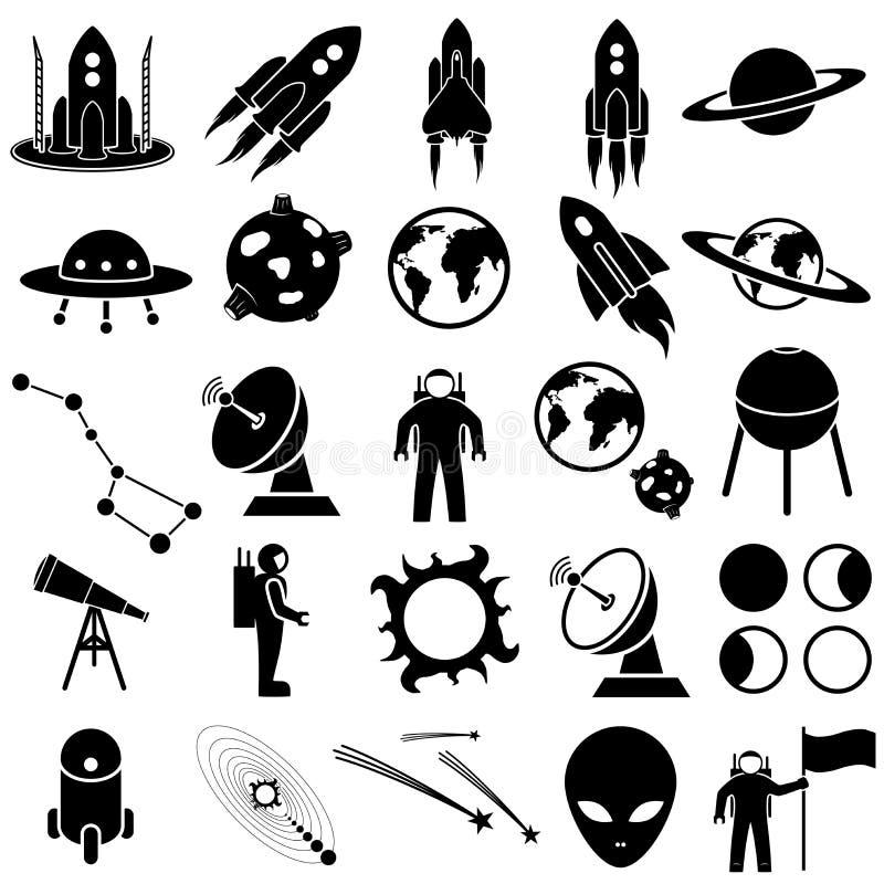 Insieme dell'icona dello spazio illustrazione di stock