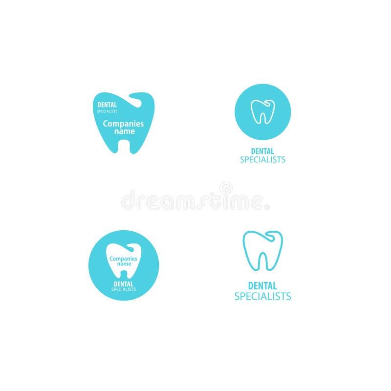 Insieme dell'icona dentaria del dente di logo della clinica illustrazione di stock