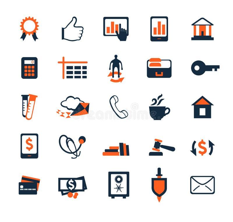 Insieme dell'icona di affari Finanza, vendita, commercio elettronico Progettazione piana illustrazione vettoriale