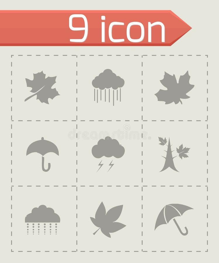 Insieme dell'icona di autunno di vettore illustrazione vettoriale