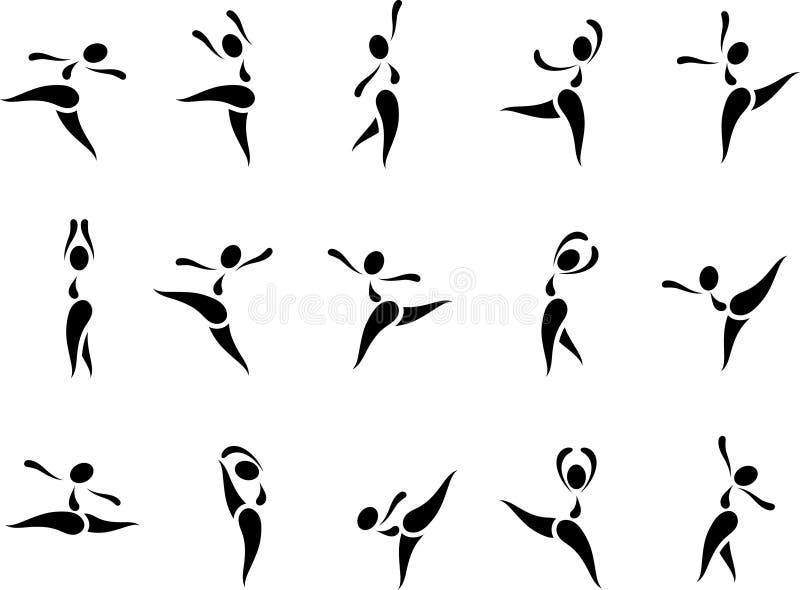 Insieme dell'icona di ballo illustrazione di stock