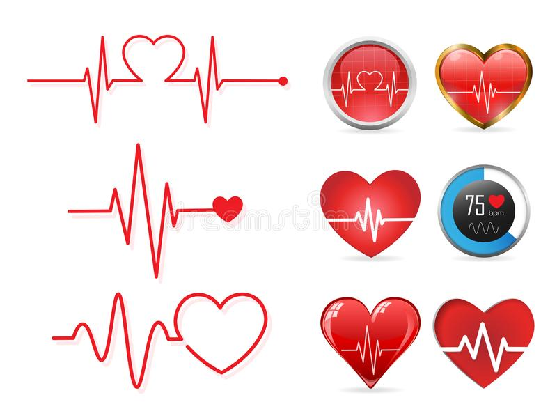 Insieme dell'icona di battito cardiaco ed elettrocardiogramma, concetto di ritmo cardiaco, illustrazione di vettore illustrazione vettoriale