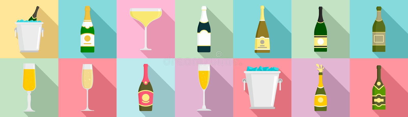 Insieme dell'icona di Champagne, stile piano royalty illustrazione gratis