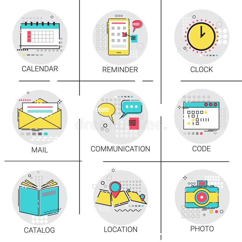 Insieme dell'icona di codifica di applicazione di posizione di navigazione di ricordo del calendario dell'orologio del catalogo illustrazione di stock
