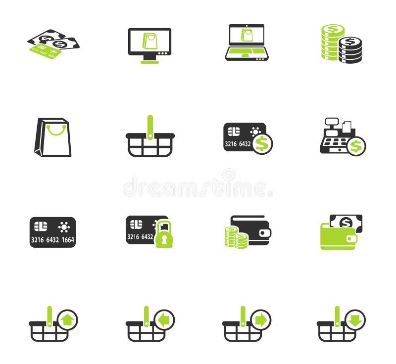 Insieme dell'icona di colore di commercio elettronico illustrazione di stock